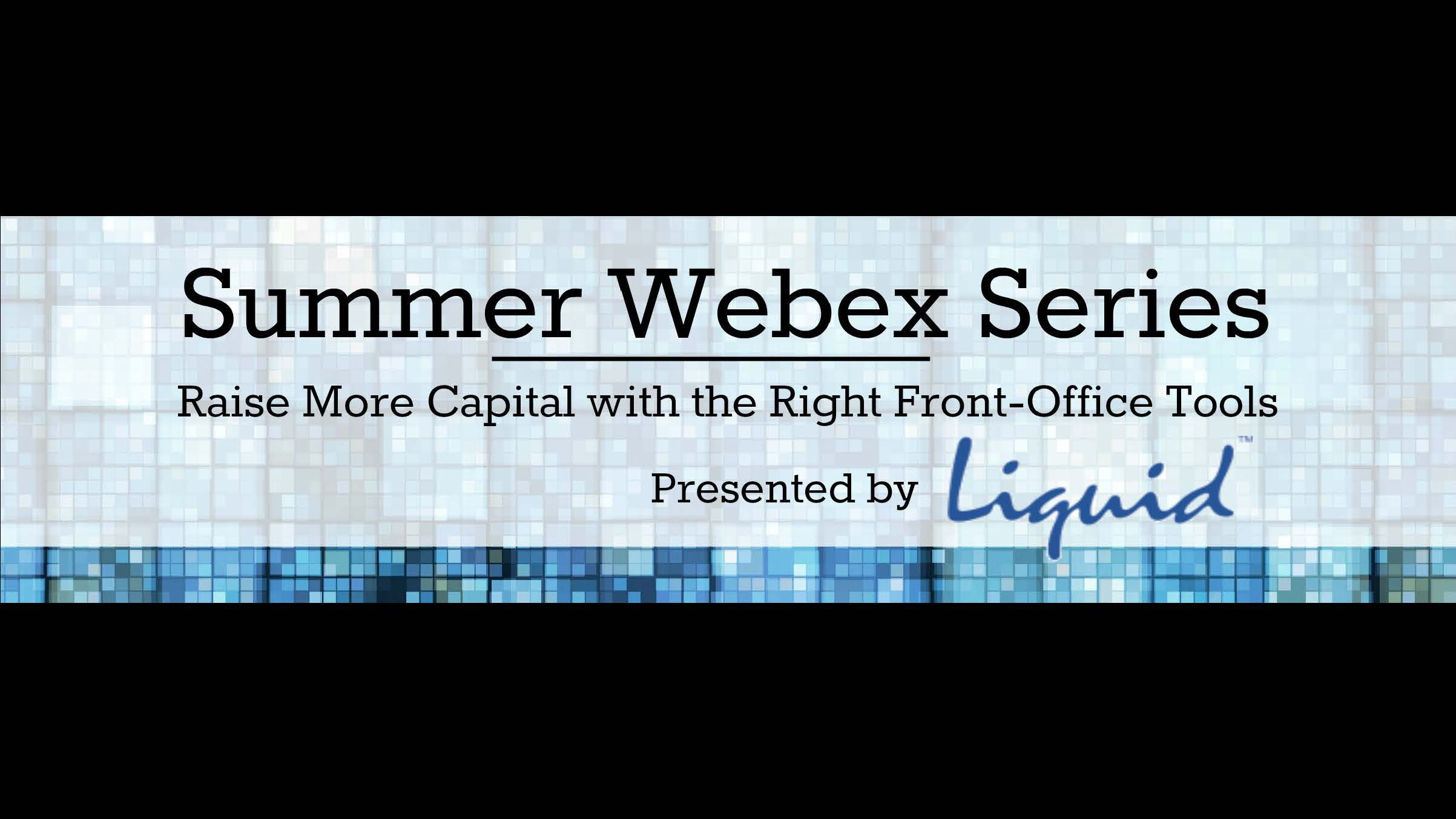 Webex for Hedge Fund Managers: July 23rd @ 2 PM EST