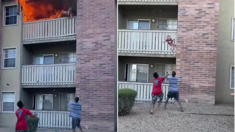 WATCH: Marine Dives to Save Boy Thrown From Burning Building As Mom Makes the Ultimate Sacrifice