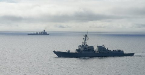 U.S. warship sails near disputed reef in South China Sea