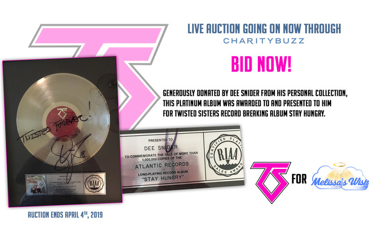 Auction: Dee Snider's Personal Platinum Album for Twisted Sisters Stay Hungry