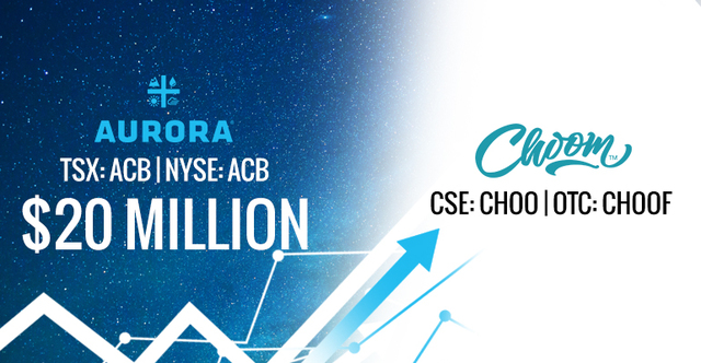 Choom Holdings (OTC: CHOOF | CSE: CHOO) Emerges As Marijuana Retail Leader After Major Financial Backing From Aurora Cannabis (NYSE | TSX: ACB)