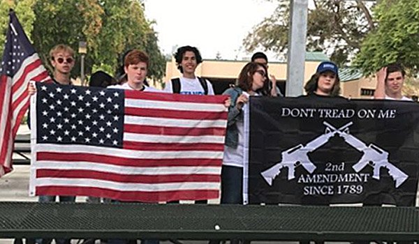 Students at Moorpark High School in California support for Second Amendment at May 2 walkout (Photo: Twitter)