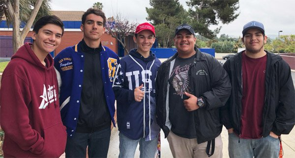 A group of five students walk out to support Second Amendment on May 2 at San Dimas High School in San Dimas, Cali