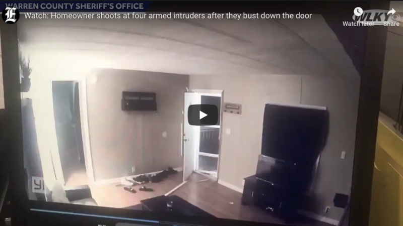 WATCH: Homeowner shoots at four armed intruders after they bust down the door