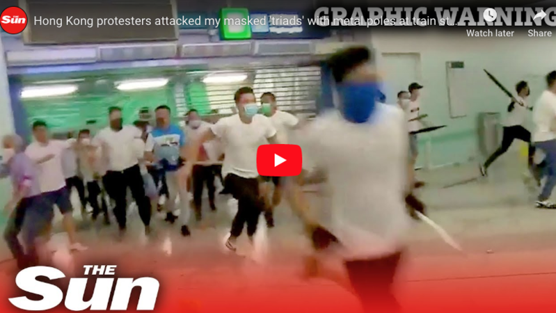 HIRED THUGS Gangs of China-backed 'triad' mobsters batter Hong Kong democracy protesters with metal poles
