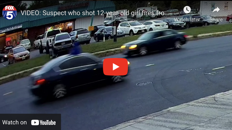 Moment gunman opens fire from sunroof of a car near Washington DC, hitting girl, 12, and leaving her critically wounded