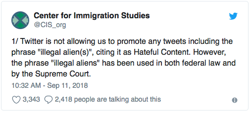 Twitter blocks posts that use phrase 'illegal alien' as 'hateful content'