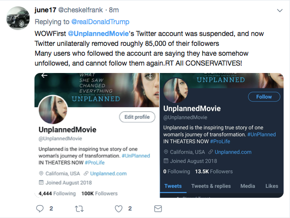 ConstitutionAlly | Is Twitter Manipulating 'Unplanned' Page?