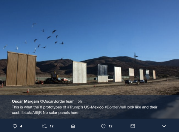 Trump Tweets Video Update of Border Wall Progress