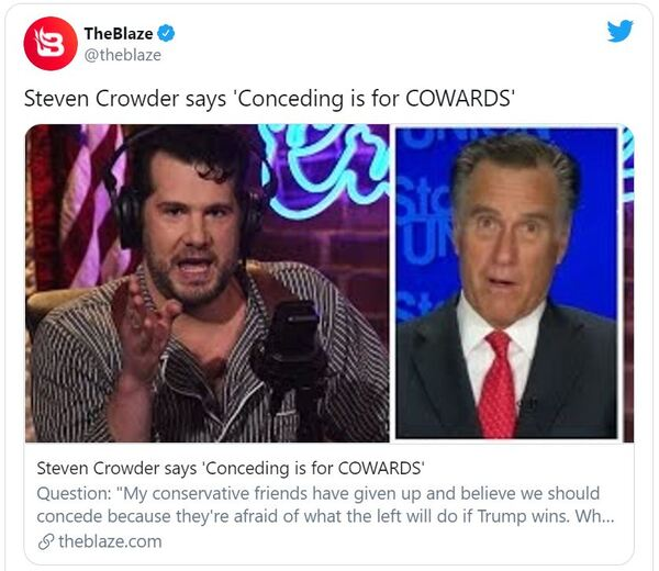 Steven Crowder's Bottom Line Message for Trump Supporters: 'Conceding Is for Cowards'