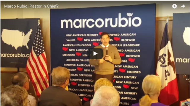 Watch Rubio's incredible response to an atheist who says he's running to be 'Pastor-In-Chief'