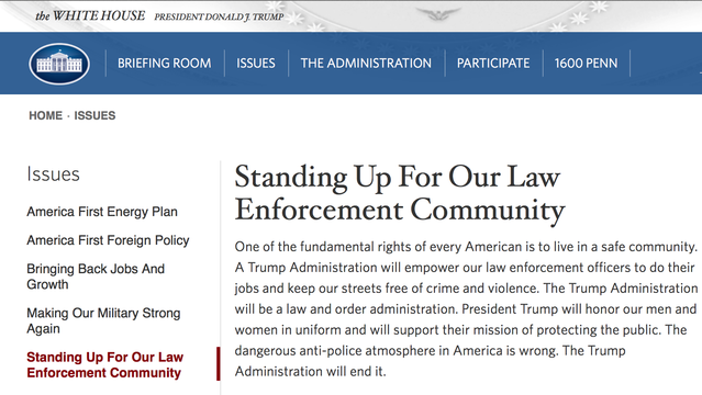 Trump White House Website Addresses Law Enforcement and the Second Amendment