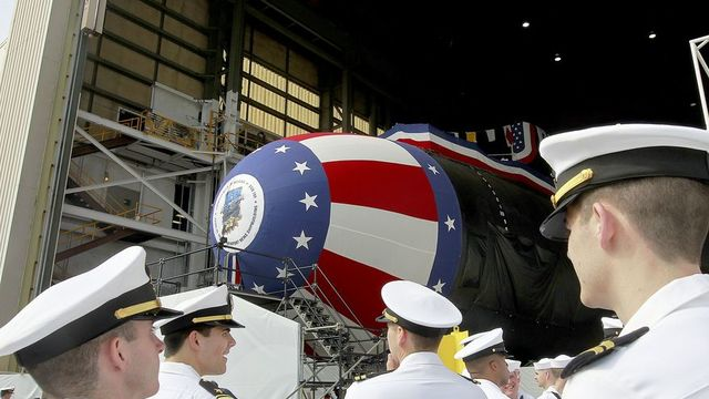 Pence christens new attack submarine, urges Congress to boost defense spending