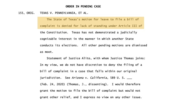 Supreme Court Reject Texas Suit Challenging the Election