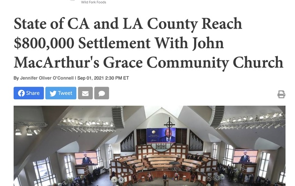 CA Church win's $800 K from State & County for Religious Freedom Violations